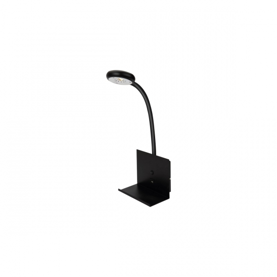 ZET sänglampa m. USB laddare, svart